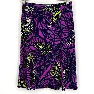 Dana Buchman purple yellow flower elastic skirt